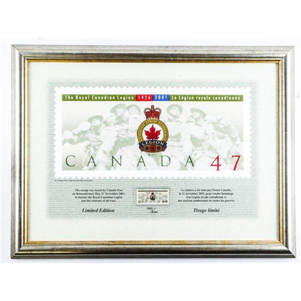 The Royal Canadian Legion 1926-2001 Limited  Edition Framed Stamp, Issued November 11,  2002- 14 x 1