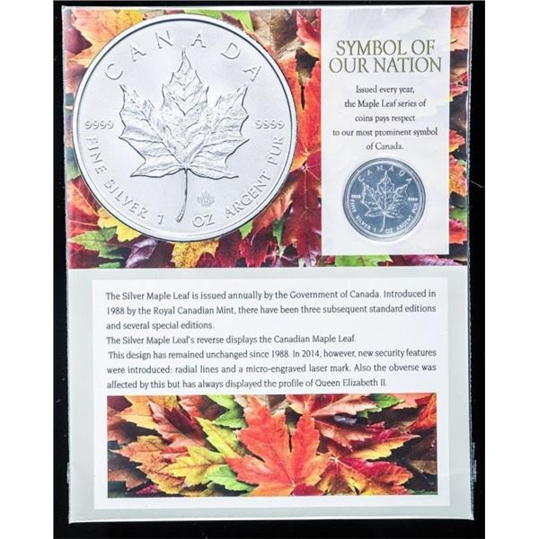 Symbol of Our Nation Maple Leaf 5.00 Coin  .999 Fine Silver 1oz ASW with 8x10 Giclee Art  Card