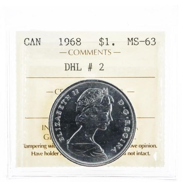 1968 DHL#2 Canada $1 Voyageur MS63 ICCS  (10a-mr)