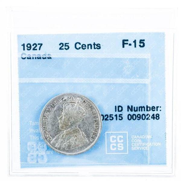 1927 Canada 25 Cent F-15. CCCS