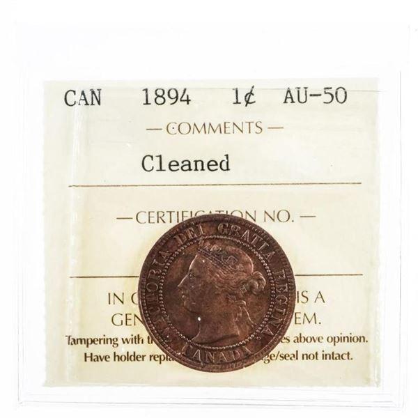 1894 Canada One Cent Thick 4 -AU50 ICCS (10a-  sme)