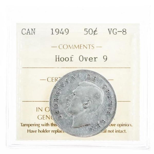 1949 Canada Silver 50 Cents Hoof Over 9 VG8  ICCS (10a-ee)