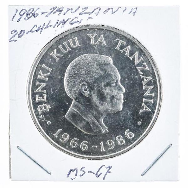 1986 Tanzania 20 Shilling Coin, MS67. (KE)