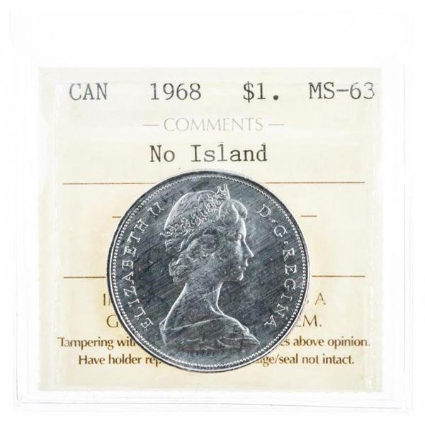 1968 Canada Nickel Dollar No Island MS63 ICCS  (10a -mr)