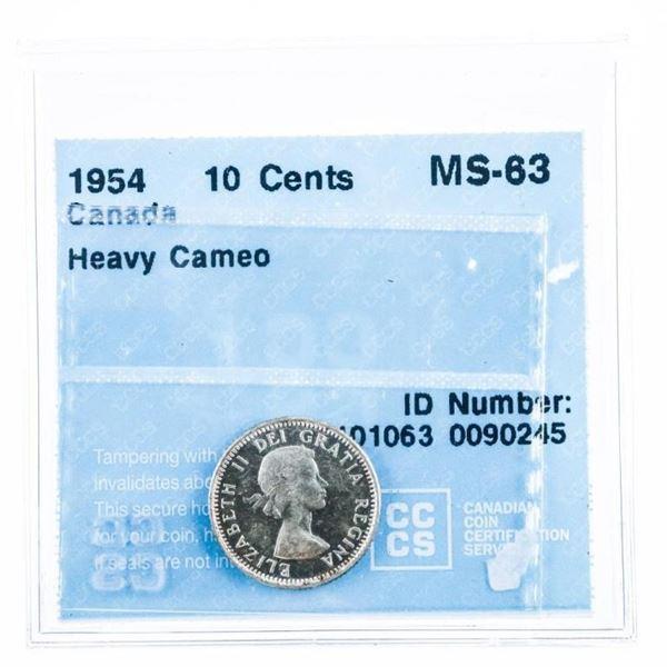 1954 Canada 10 cents MS63 Heavy Cameo