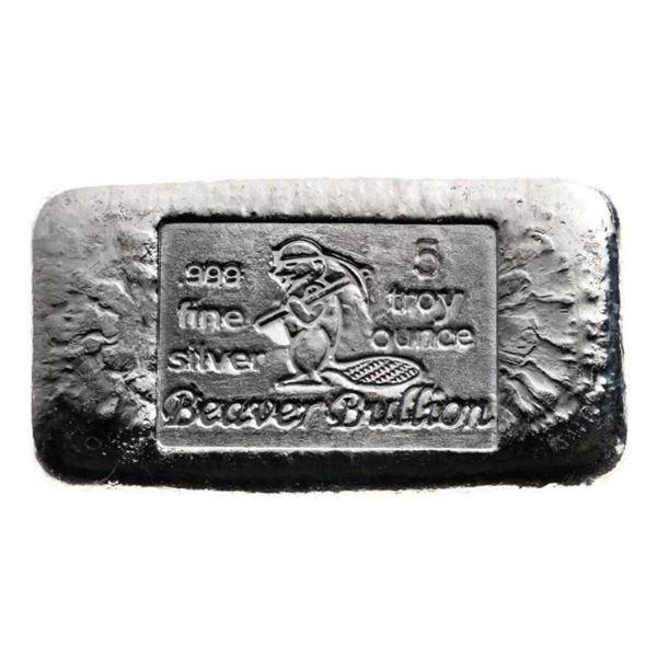 Canada's Beaver - .999 Fine Silver 5oz Hand  Poured Bar. Very Collectible.