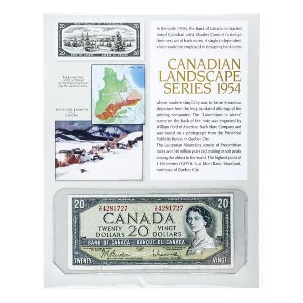 Bank of Canada 1954 $20 Modified Portrait  Note with Display - Canadian Landscape  Series.