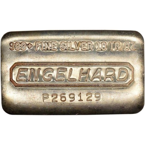 Engelhard Vintage Bullion 10 Troy Ounce .999+  Fine Silver Bar, Serialized, (Serial Will  Vary).