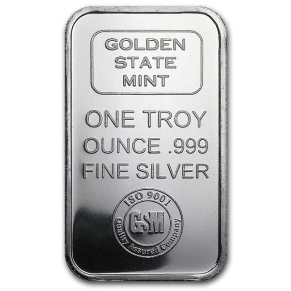 Golden State Mint .999 Fine Pure Silver Bar 1  oz.