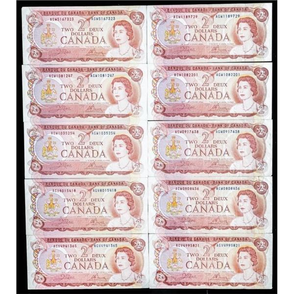 Group of (10) Bank of Canada 1974 2.00  (530-534)