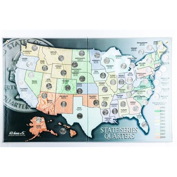 State Series USA Quarters Collector Map  1999-2008