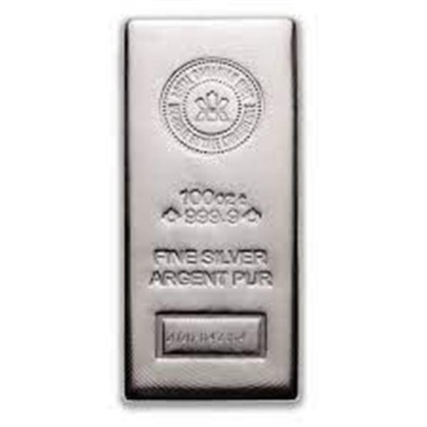 Premier - RCM 100oz .9999 Fine Silver Bar.  Very Collectible Canadian Silver.