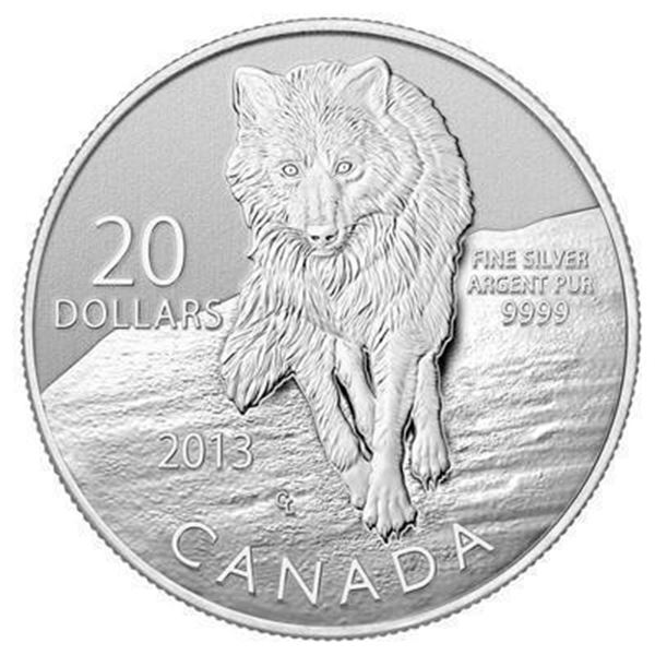RCM 9999 Fine Silver 20.00 Coin WOLF in Folio