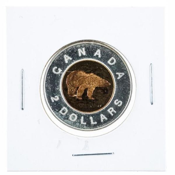 Canada 1999 Proof 2.00 Coin, 925 Sterling  Silver - 24kt Gold Plated Center