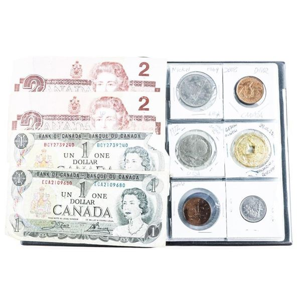 Stock Book w/ 24 Coins Includes Silver & Bank  Notes