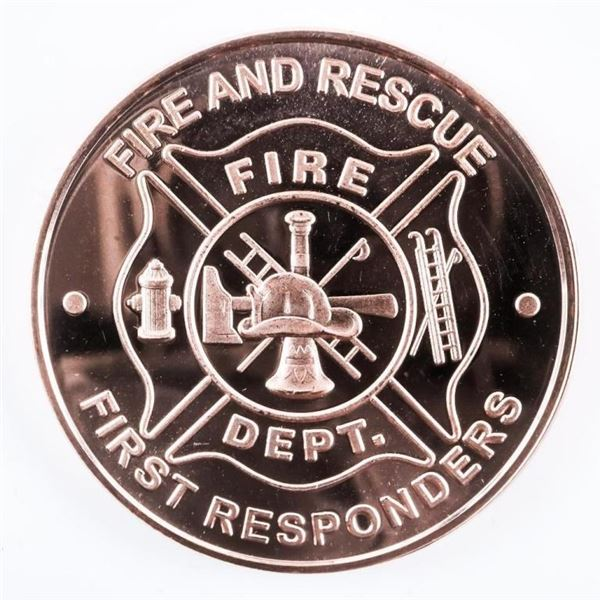 Fire and Rescue - First Responders .999 Fine  Copper Round 1oz