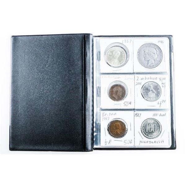 Coin Stock Book (24) World Coins Includes  Silver