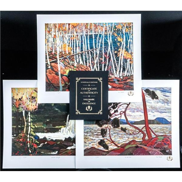 "Tom Thomson (1877-1917) Northern Icons -  Suite 1 (3) Giclee Images 12x12"" Matched  Folio 'Gold Gryp"