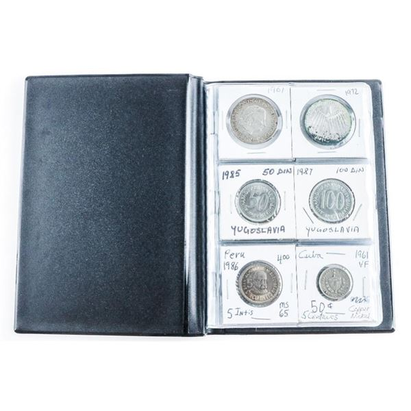 Stock Book w/ 24 World Coins Assorted