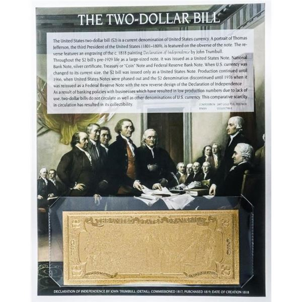 USA The Two Dollar bill 8 x 10 Giclee Display  Card 24kt Gold Gilded Note