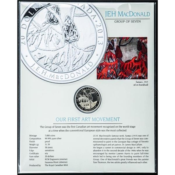 Group of Seven Artist - J.E.H MacDonald RCM  Coin Sumacs 1915 .999 Fine Silver $20.00 Coin  with Art