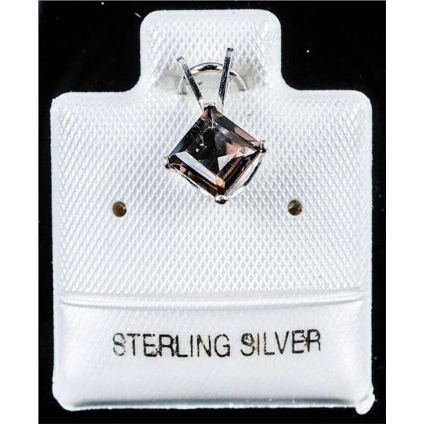 925 Sterling Silver .60ct Smokey Quartz  Pendant
