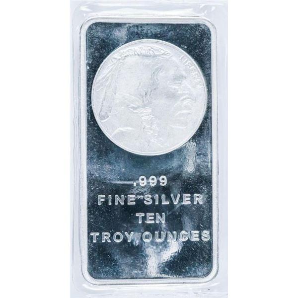 USA Collector Bullion Bar Indian Head/Buffalo  .999 Fine Silver 10oz ASW
