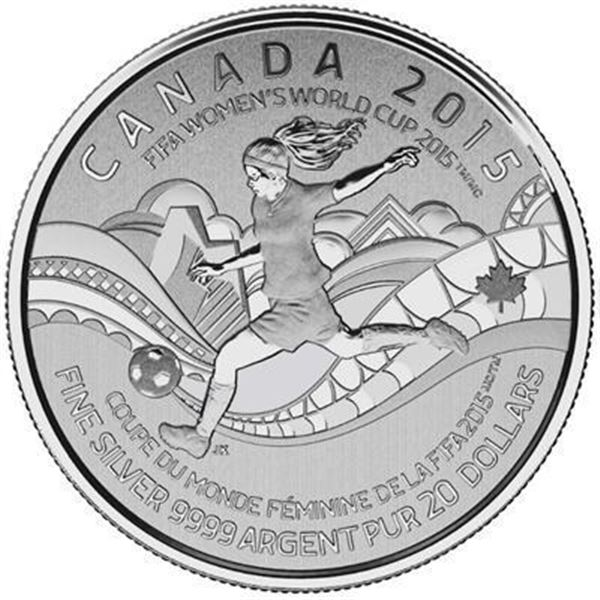 RCM 2015 - .9999 Fine Silver $20.00 Coin  'FIFA WORLD CUP'