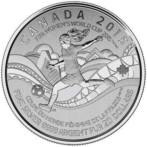 RCM 2015 - .9999 Fine Silver $20.00 Coin  'FIFA WORLD CUP'