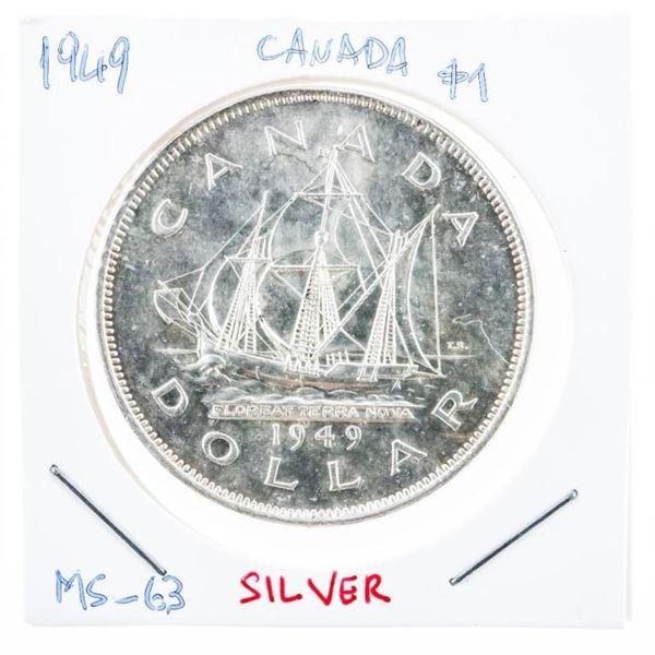 Canada 1949 Silver Dollar M#63 (8a-er)