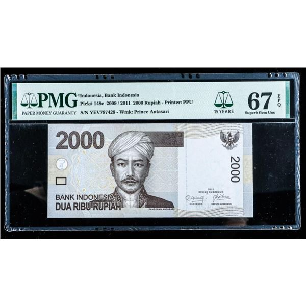 Bank of Indonesia 2009/2011 - 2000 Rupiah  Prince Antas PMG 67