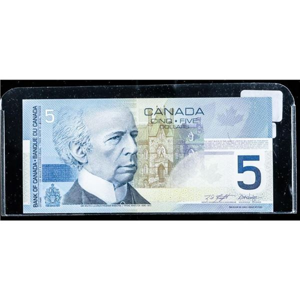 Bank of Canada 2002 5.00 Choice UNC (AOB)  2.4-2.6