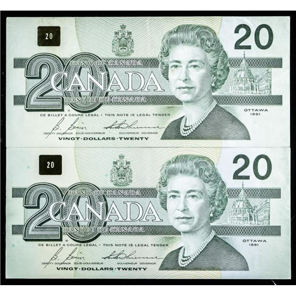 Lot (2) Bank of Canada 1991 20.00 Notes, In  Sequence (42)
