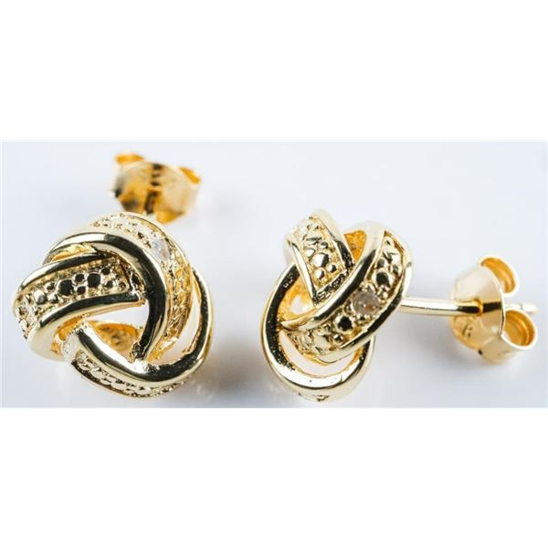 925 Sterling Silver/Gold Plated 'Love Knot'  Diamond Stud Earrings