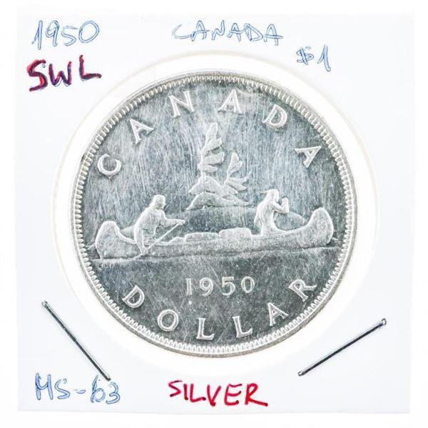 Canada 1950 Silver Dollar M#63 SWL (8a-ge)