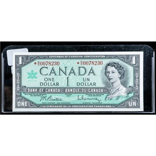Bank of Canada 1967 1.00 *Replacement 1.00  Choice UNC B/R (N/O)