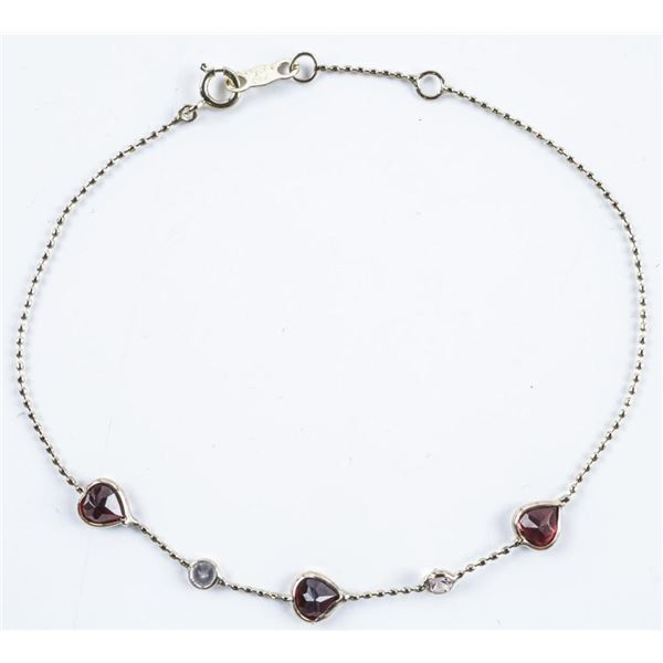"Ladies 10kt Gold, Handmade Bracelet 6.5-7.25""  Heart Cut Garnets and 2 Natural White  Sapphires 1.70"
