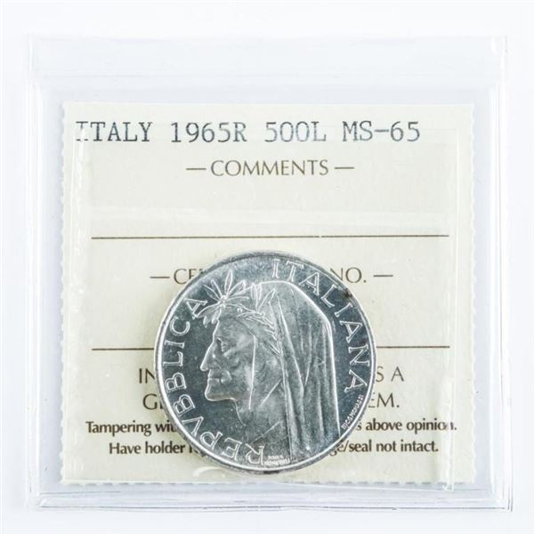 ITALY 1965R 500L MS65 Silver ICCS