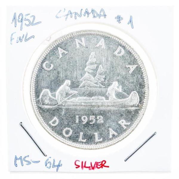 Canada 1952 Silver Dollar M#64 FWL (8a-srx)