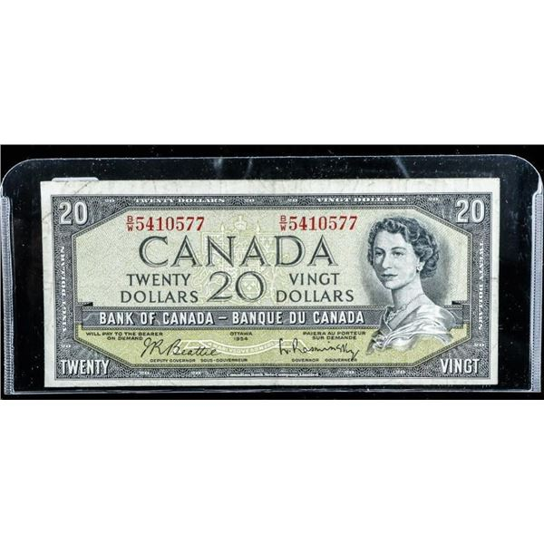 Bank of Canada 1954 Modified Portrait 20.00  B/R Note