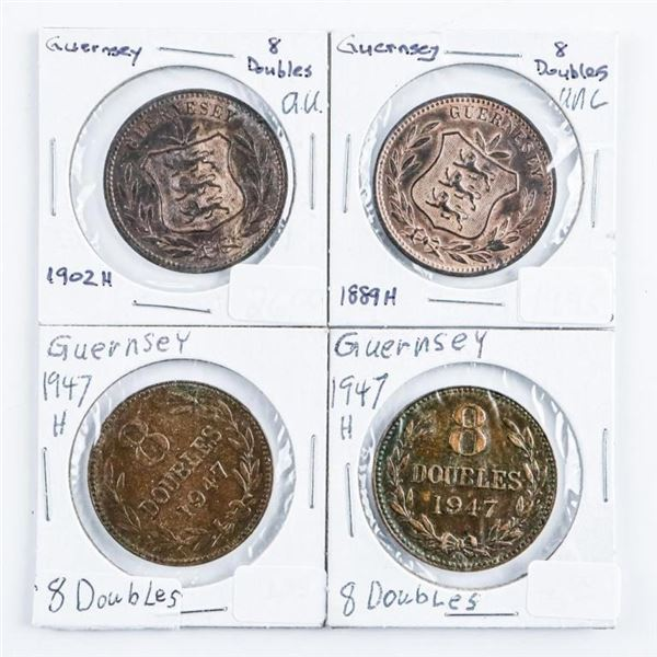 Guernsey 8 Doubles Coins - Grouping of  4,:1889H,1902H, 1947H, 1947H.