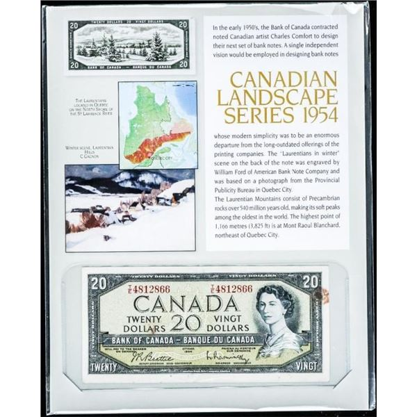 Canadian Landscape Series 1954 Bank of Canada  $20.00 Modified Portrait (T/E) B/R with 8x10  Giclee