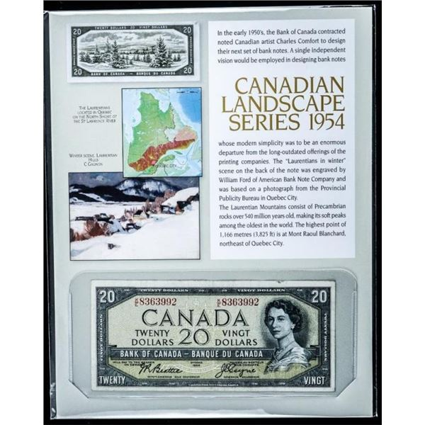 Canadian Landscape Series Bank of Canada 1954  $20.00 B/R w/ Giclee Art Card