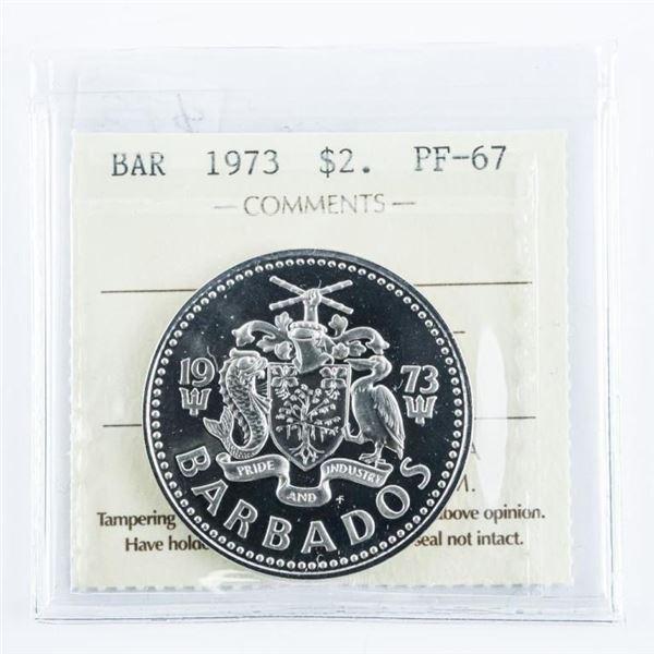 Barbados 1973 2.00. PF-67, ICCS.