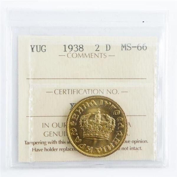 YUG 1938 2 U MS66. ICCS. (OXR)