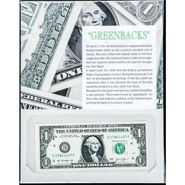 `Greenbacks - Original Brick (100) 1.00 Green  Seal Notes, GEM UNC in Sequence with 8x10  Giclee Art