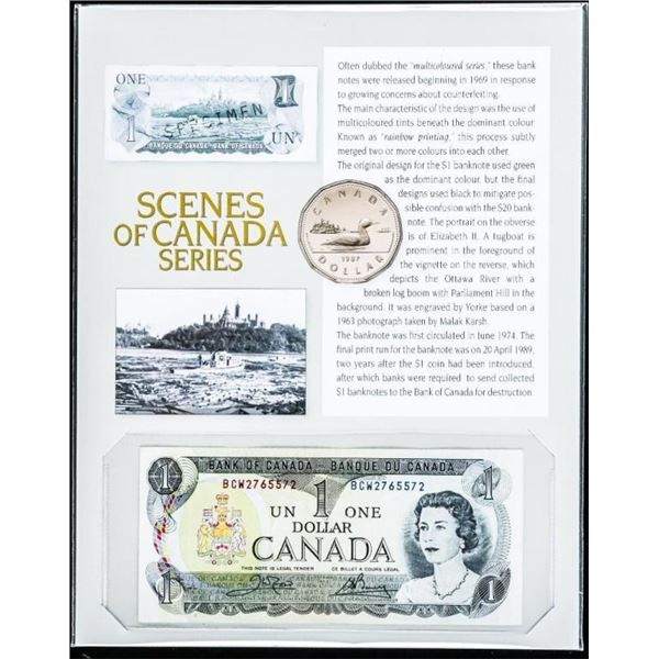 Scenes of Canada Series Bank of Canada 1973  1.00 Plus 8x10 Giclee Art Card Notes, Now  Recalled fro