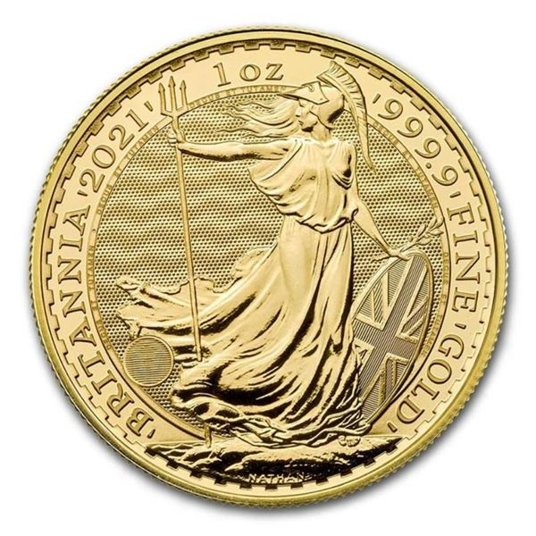 Investment Bullion - 2021 Great Britain Gold  Britannia 1oz .999 Fine Gold Round.