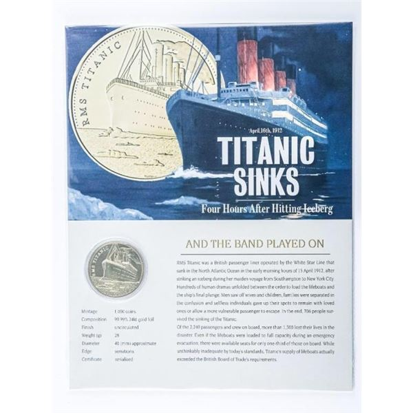 Titanic Sinks - 24kt Gold Foil Medallion with  8x10 Giclee Art Card