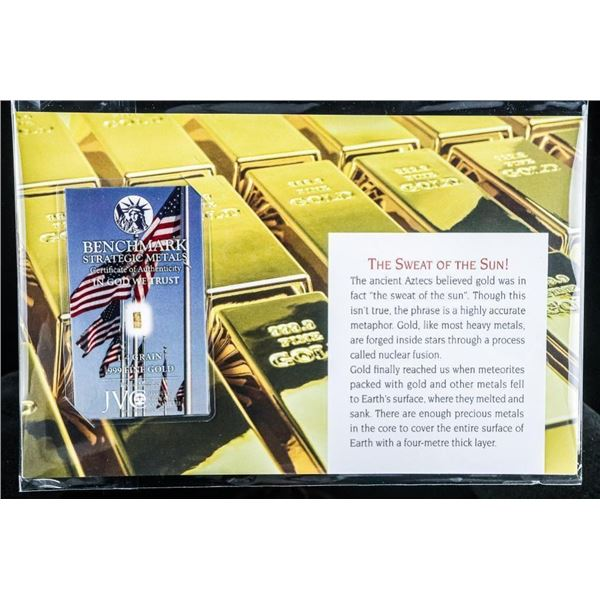 The Sweat of the Sun - Gold Collector Bullion  Bar .999 Fine Pure 24kt Gold
